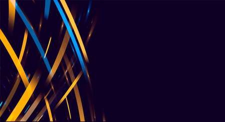 Blue and yellow flares of light forming abstract texture of striped rays in random movement with place for text