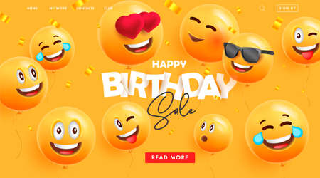Birthday web banner for landing page promo with festive 3d round balloons with happy smiling faces expressions and confetti Vectores
