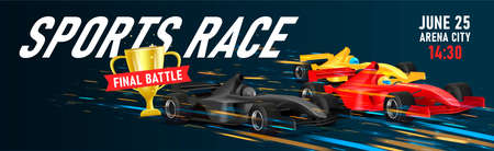 Web banner with illustration of three super cars sport bolide in speed motion for golden cup, championship tournament banner