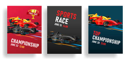 Flyer for racing tournament with sport car illustration, speed bolid with golden cup for winner, event template set