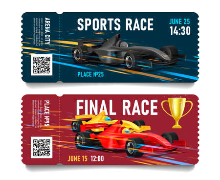 Race championship ticket with sport car illustration moving on high speed, with snap-out part and QR code Vectores