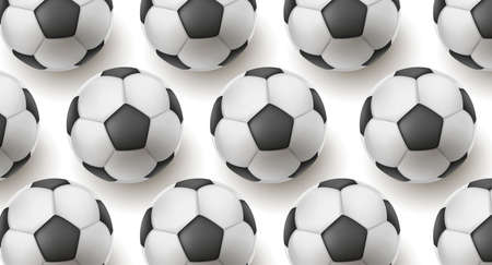 Heap of classic black and white soccer balls forming texture, realistic 3d backdrop with balls illustrative pattern, top view with shadow