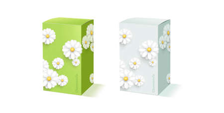 Mockup of packcge box shape with modern chamomile or fluffy white flower decor on green and light blue