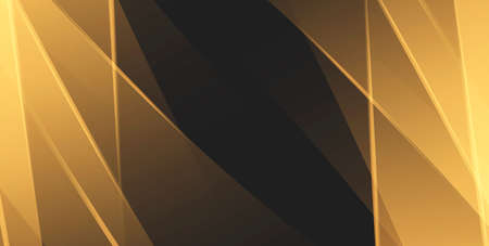 Black and gold straigt plates crossing and creating abstract composition