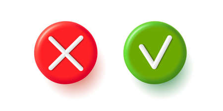 Tick and cross 3d icons, approve and decline signs red and green colors