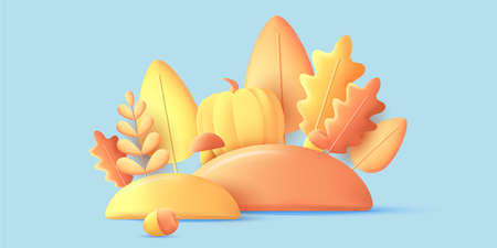Autumn composition of 3d graphic elements, render modern graphic illustration of leaves, pumpkin and acorn in yellow colors on blue backdrop