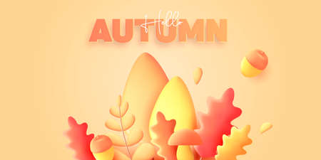 Autumn 3d graphic elements, render modern graphic illustration of leaves, pumpking and acorn in yellow colors on blue backdrop Vectores