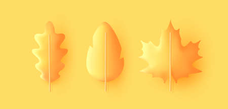 Autumn leaves set, isolated on a yellow background, 3d render graphic style, oak and maple leaves