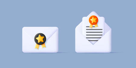 3d render illustration of envelop with stamp and open with letter, digital web icon style Vectores