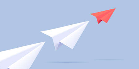 Paper plane illustration of three planes moving forward in one line creating direction, red plane in head Vectores