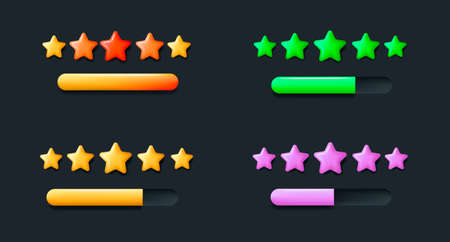 Set of 3d icons for review user interface element with stars and bar