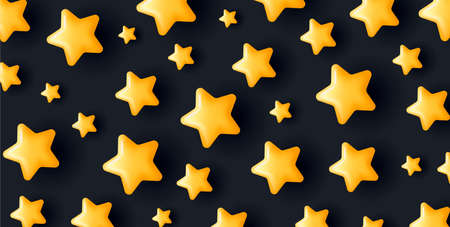 3d yellow stars of different size creating pattern on darck backdrop