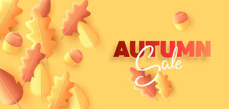 Autumn sale season poster with fall leaves 3d illustration composition and acorns with typography sign Vectores