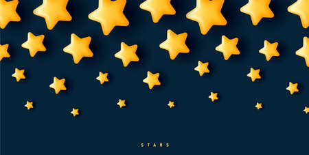 background with 3d yellow stars decreasing in size from top to bottom of the composition Vectores