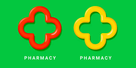 Pharmacy 3d symbol, rounded cross in yellow and red colors, logo sign