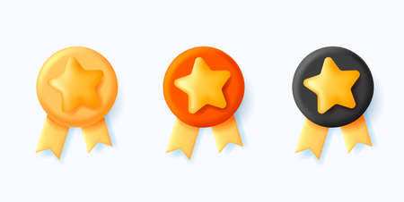 set of 3d medals, round emplem with star and ribbon Vectores