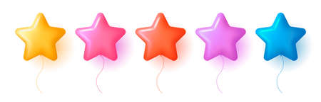 Set of 3d star shaperd air balloons in different colors