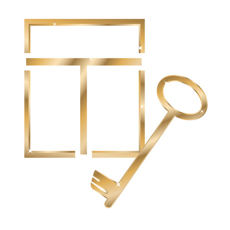 immovable property: gold window and a key isolated on the white