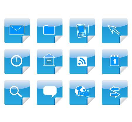 communicator: icons on stickers Stock Photo