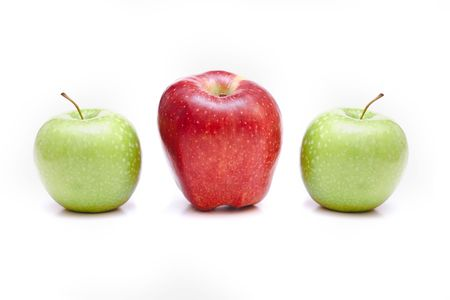 distinguish: three apples isolated on white