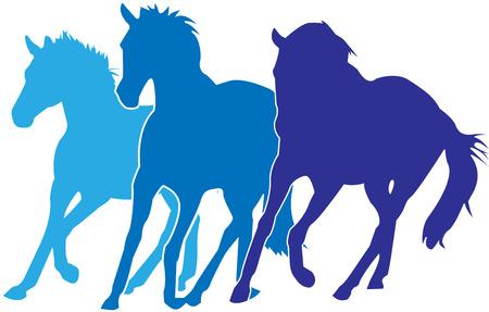 bleu chevaux de silhouettes