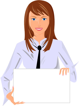 girl with poster Stock Vector - 5803230