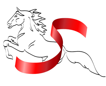 horse and ribbon vector isolated on a white Vector