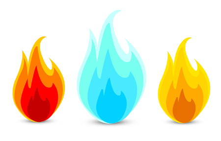 blue flames: three fire icons in a vector Illustration