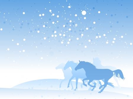 arabian horse: horse herd in winter Illustration