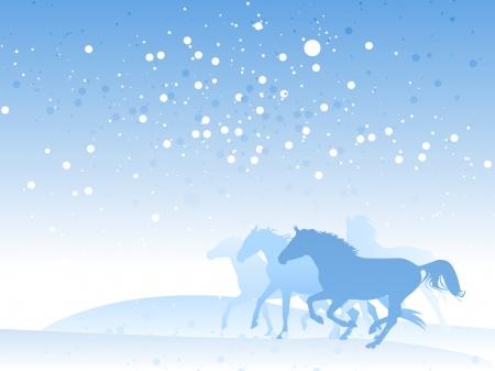 winter vacation: horse herd in winter Illustration