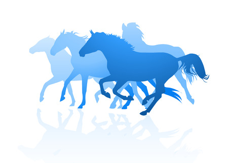 horses silhouettes Illustration