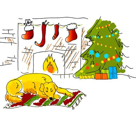 christmas sketch card Vector