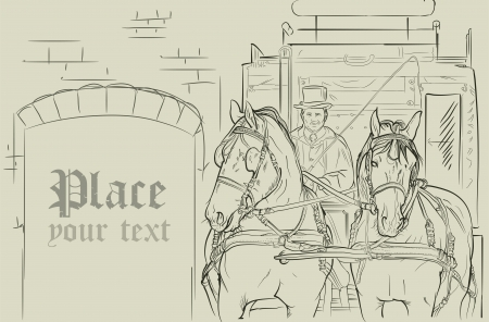 detailed of a horse carriage in old style Vector