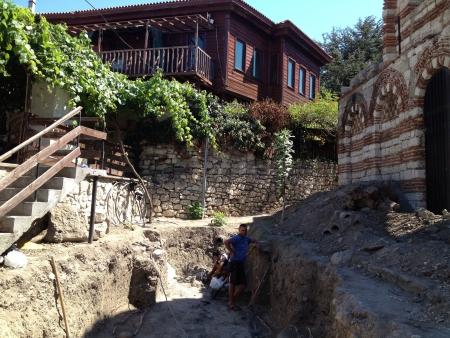 archeologist: Excavations in Nassebar Bulgaria Stock Photo