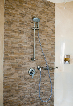 Bathroom Shower with Dual Shower Heads and Glass Enclosure. photo