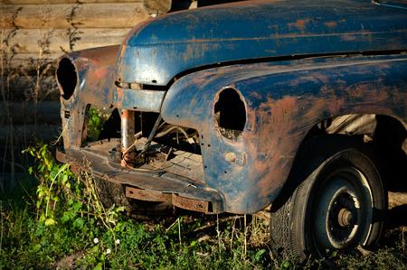 abandoned car: Old abandoned vintage car