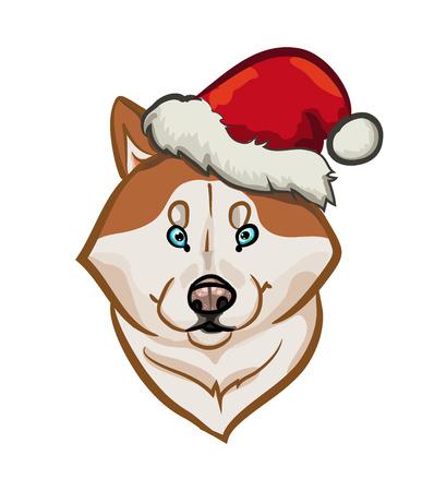Siberian husky holiday portrait illustration