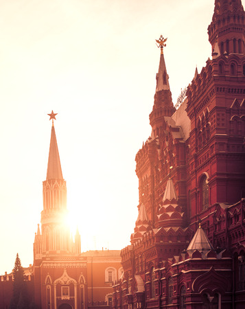 moscow: Moscow, Red square. Historical museum and Nikolskaya Tower of Kremlin in sunset