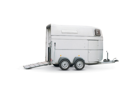 trailer: horse trailer isolated over a white background