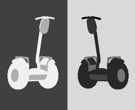 commuter: vector illustration of an individual electric scooter in two versions of coloring