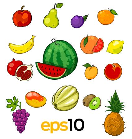 banana sheet: set of vector sketch fruits on a white Illustration