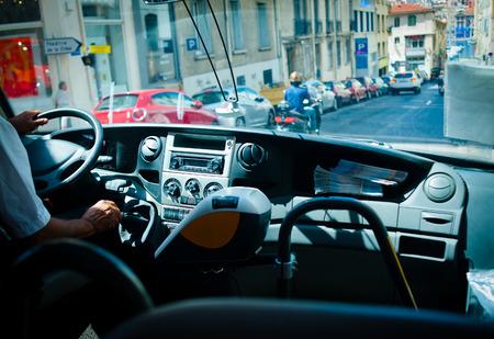 interrior: tour bus interrior with europe city view