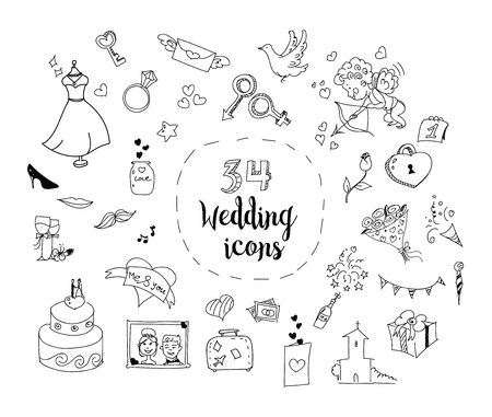 Vector set of 34 cartoon wedding theme icons