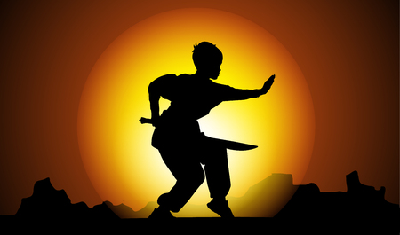 Boy silhouette showing Kung Fu element in sunset Illustration