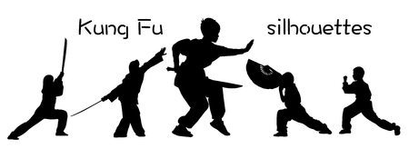 Silhouettes of children showing Kung Fu elements Illustration