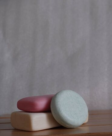 bar soap and solid shampoo, eco friendly alternative, plastic free Stock Photo