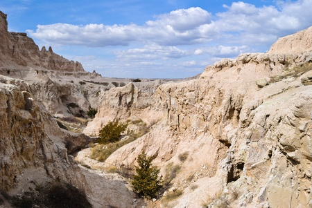 View of a canyon at Badlands National Park in South Dakota, USA photo