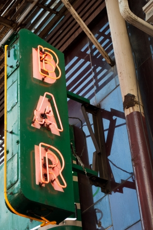 old sign: Red and Green Neon Bar Sign