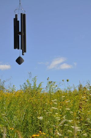 Chimes sounding in a meadow