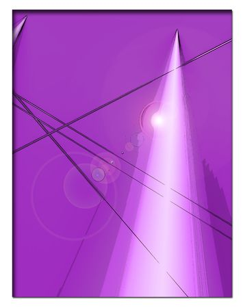 Purple background with organic images and white shooting pyramid